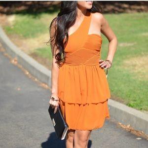 H&M One Shoulder Orange Dress